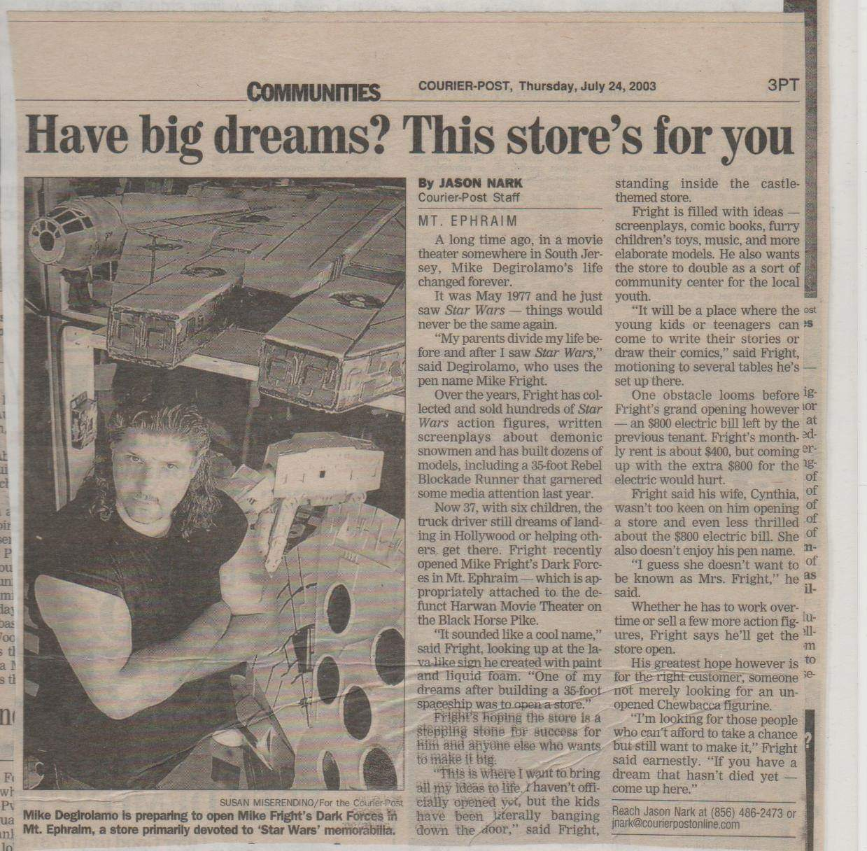 Michael Fright Fiction Author   In The News